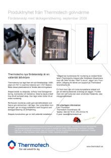 Produktnyhet från Thermotech golvvärme Fördelarskåp med läckageindikering,
