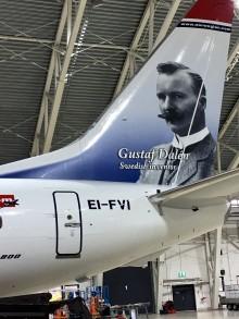 Nobelpristagaren Gustaf Dalén ny hjälte på Norwegians flygplan