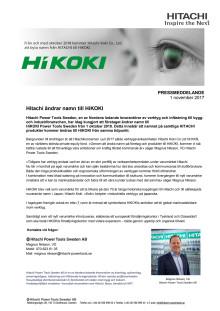 Hitachi ändrar namn till HiKOKI