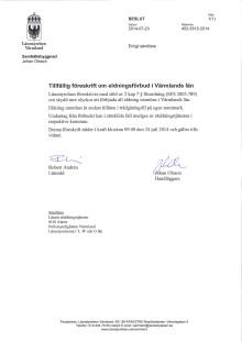 Beslut om eldningsförbud i Värmlands län 2014-07-24