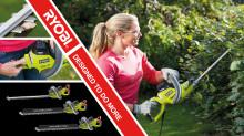 Uudistettu valikoima - sähkökäyttöiset pensasleikkurit Ryobilta