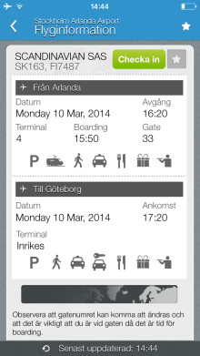 Smidigare start på resan - checka in via Swedavias app