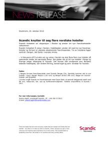 Scandic knytter til seg flere nordiske hoteller