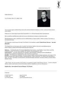 Lehdistötiedote Yves Saint Laurent Tom Pecheux Global Beauty Director