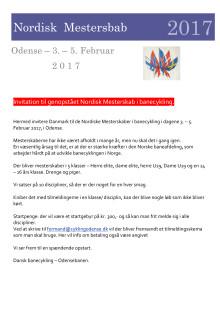 Invitation Nordisk Mesterskab Banecykling