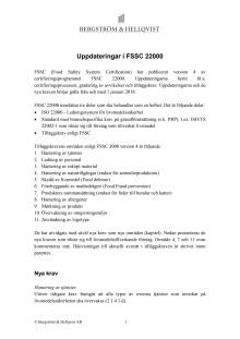 Uppdateringar i FSSC 22000 januari 2017
