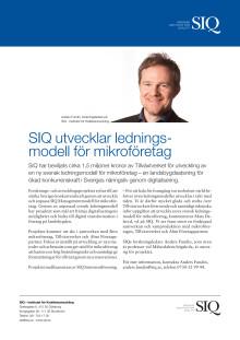 SIQ utvecklar ledningsmodell för mikroföretag