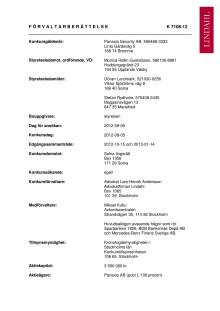 Förvaltarberättelsen för Panaxia Security AB