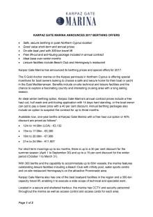 Karpaz Gate Marina Announces 2017 Berthing Offers