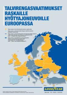 Goodyear varoittaa kuljetusyrityksiä: talvirengassäännöt eivät ole samat kaikkialla Euroopassa