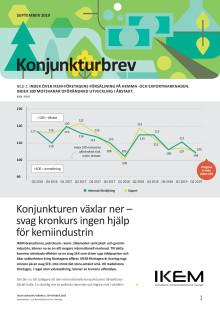 IKEM:s konjunkturbrev september 2019 - Konjunkturen växlar ner – svag kronkurs ingen hjälp för kemiindustrin
