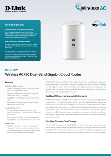 Produktblad, D-Link Wireless AC750 Dual Band Gigabit Cloud Router (DIR-818LW)