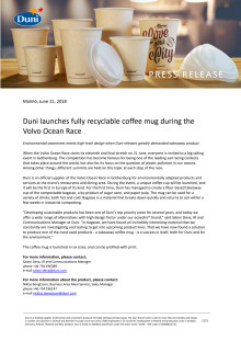 Duni launches fully recyclable coffee mug during the Volvo Ocean Race