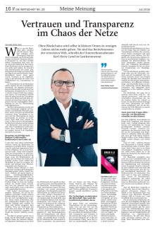 Nordwest-Zeitung/Die Wirtschaft: Vertrauen und Transparenz im Chaos der Netze