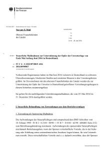 Steuerliche Maßnahmen zur Unterstützung der Opfer der Unwetterlage von Ende Mai/Anfang Juni 2016 in Deutschland