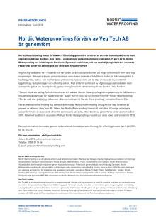 Pressmeddelande Nordic Waterproofing Helsingborg 5 juli 2018