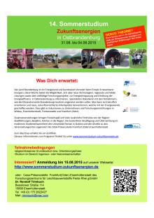"""14. Sommerstudium """"Zukunftsenergien in Ostbrandenburg"""" vom 31. August bis 4. September 2015"""