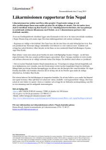 Läkarmissionen rapporter från Nepal