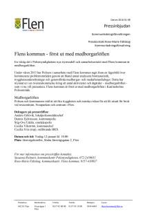 Pressinbjudan: Flens kommun - först ut med medborgarlöften