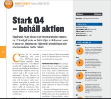 Analysguiden - Stark Q4 – behåll aktien