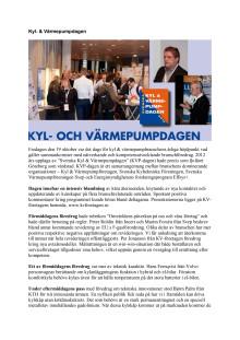 Svenska Kyl & Värmepumpdagen 2012