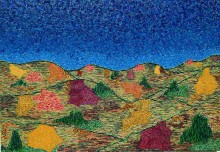 """It's a beautiful day! The latest painting in the """"Never Alone"""" landscape series."""