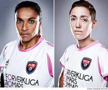 FC Rosengårds Marta Vieira da Silva och Therese Sjögran medverkar på Business Arena Malmö den 7 maj