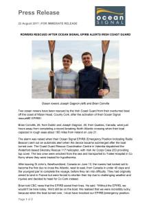 Rowers Rescued after Ocean Signal EPIRB Alerts Irish Coast Guard