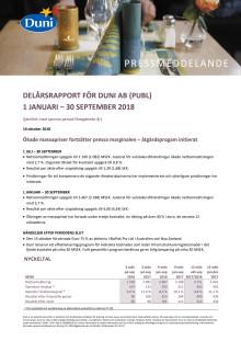 Delårsrapport för Duni AB (publ)  1 januari - 30 september 2018