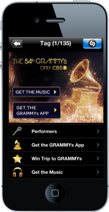 This Year's 54th Annual GRAMMY® Awards are Shazam-Enabled with the Music of Performers and Nominees