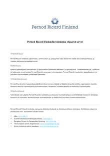 Pernod Ricard Finlandin toimintaa ohjaavat arvot