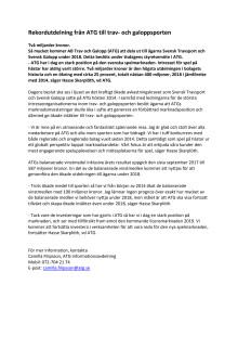 Pressmeddelande: Rekordutdelning från ATG till travet