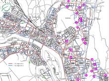 Karta över lagning gång- och cykelvägar 2014
