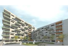 MKB:s nyproduktion i Hyllie, fasader mot innergård