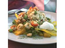 Receptbild kryddmarinerade skaldjur med ris och korn