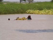 Familjer flyr undan vattenmassorna i Rajanpur