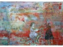 """""""Stadbyggarna"""" av Eva Bergenwall, olja på duk 40 x 50 cm."""