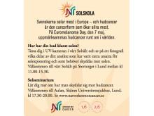 På Euromelanoma Day 7 maj finns Nätverket mot cancers Solskola på Stortorget i Lund