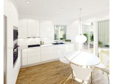 3D-visualisering av Atriumhusets kök.