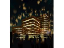 Skiss Niagara, Malmö högskola (exteriör natt)
