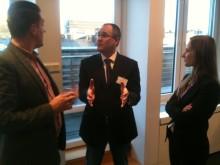 Neil Johnson of Telia Sonera makes a point at the IAA Sweden's Spotify seminar.