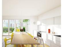 3D-visualisering av Alléhusets kök.