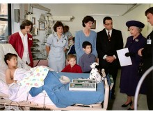 Nick Plotnek and his family, including son Robert, meet the Queen when she opened Birmingham Children's Hospital in 1998