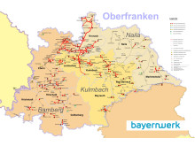 Gasnetz des Bayernwerks in Oberfranken