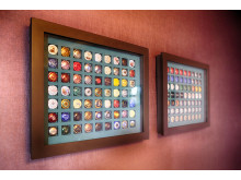 Champagne bottle top collection at Spedition Hotel, Thun, Switzerland, hotel design by Stylt Trampoli.JPG