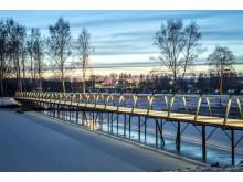 Bild 1. Kyrkparken, gång- och cykelbro i Barkarby