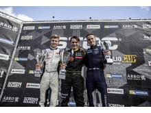 Topptrion Formula STCC Nordic 2016. Fr.v: Juuso Puhakka (tvåa), Linus Lundqvist (mästare), Philip Hall (trea). Foto: Daniel Ahlgren/STCC
