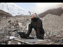 Francesca Pellicciotti on a debris covered glacier