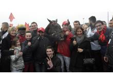 Bold Eagle i vinnarcirkeln efter segern i Prix d'Amerique