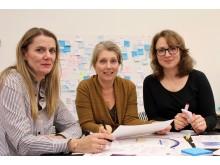 Mia Hesselgren, Sara Ilstedt och Elina Eriksson har varit med och utvecklat Målgruppsarenan.